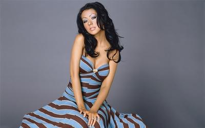 Christina Aguilera in a striped dress wallpaper