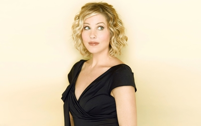 Christina Applegate in a black top wallpaper