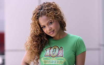Christina Milian with curly hair wallpaper