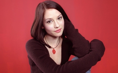 Chyler Leigh in a brown shirt wallpaper