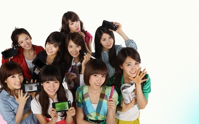 Girls' Generation with gadgets wallpaper