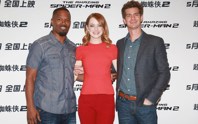 Jamie Foxx, Emma Stone and Andrew Garfield wallpaper