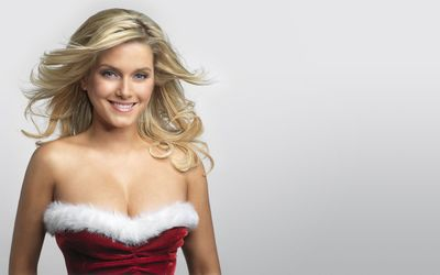 Jeanette Biedermann in a Christmas red dress wallpaper