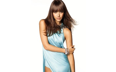 Jessica Alba in a pale blue dress wallpaper