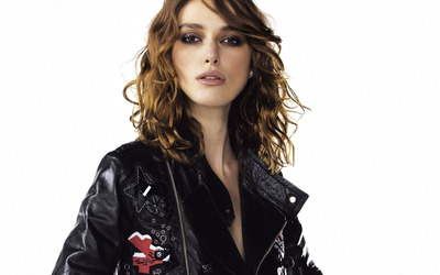 Keira Knightley with a black leather jacket wallpaper