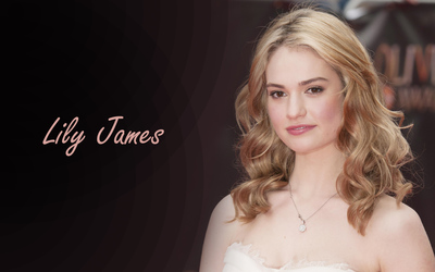 Lily James with loose curls wallpaper