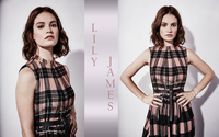Lily James with short brown hair wallpaper 2560x1600 jpg