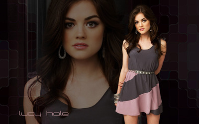Lucy Hale in a gray dress wallpaper