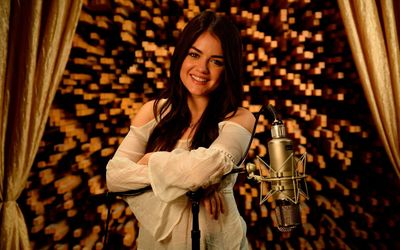 Lucy Hale with the microphone wallpaper