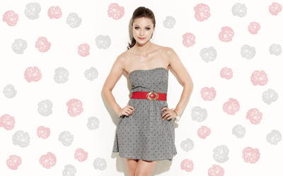 Melissa Benoist in a gray dress wallpaper