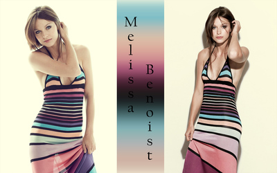 Melissa Benoist in a striped dress wallpaper
