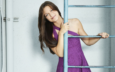 Melissa Benoist on a ladder wallpaper