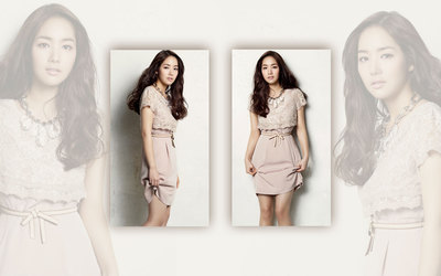 Park Min-young in a kaki dress wallpaper