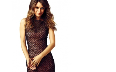 Rachel Bilson in a black lace dress wallpaper