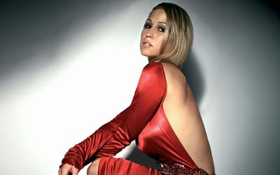 Rachel Stevens in a red dress wallpaper