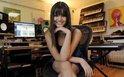 Rebecca Black in a recording studio wallpaper