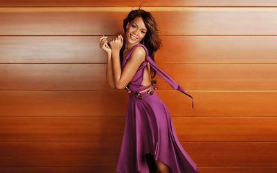 Rihanna in a purple dress wallpaper