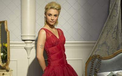 Samaire Armstrong with red dress wallpaper