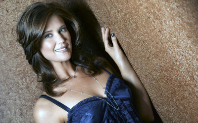 Sarah Lancaster in a blue top leaning on the wall wallpaper