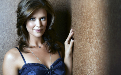 Sarah Lancaster with a hand on the wall wallpaper
