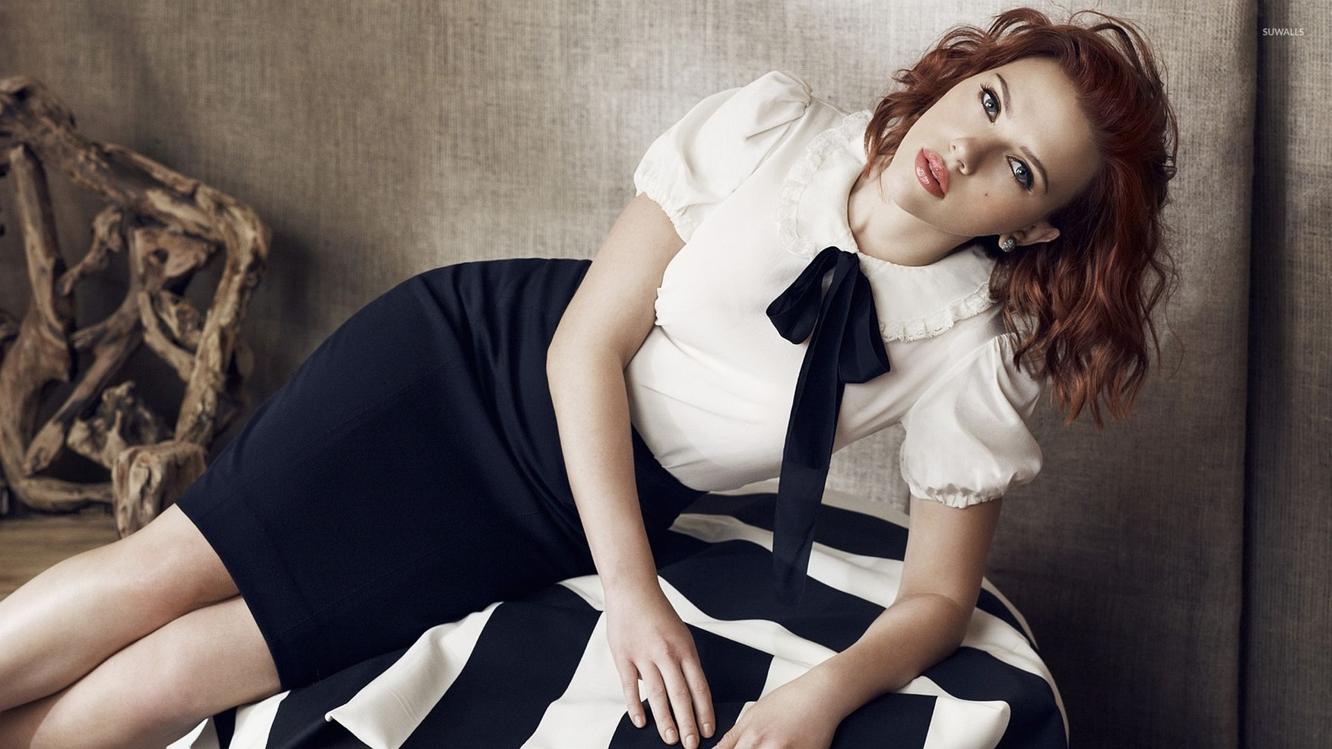 blue white striped scarlett johansson