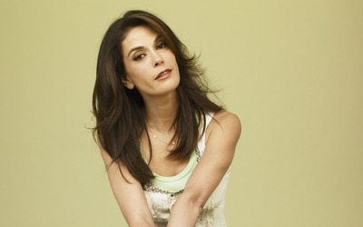 Serious Teri Hatcher with hands crossed wallpaper