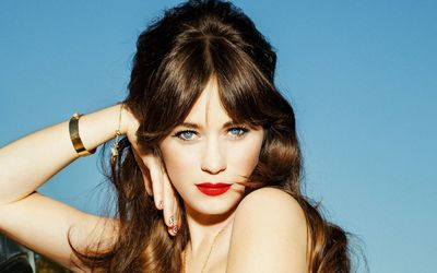 Zooey Deschanel portrait with red lips wallpaper