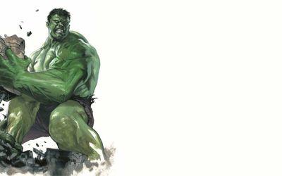 Angry Hulk throwing rocks wallpaper