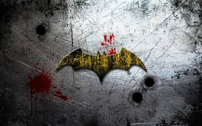 Batman logo on scratched wall wallpaper