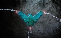 Blue Nightwing logo with lightning wallpaper 3840x2160 jpg