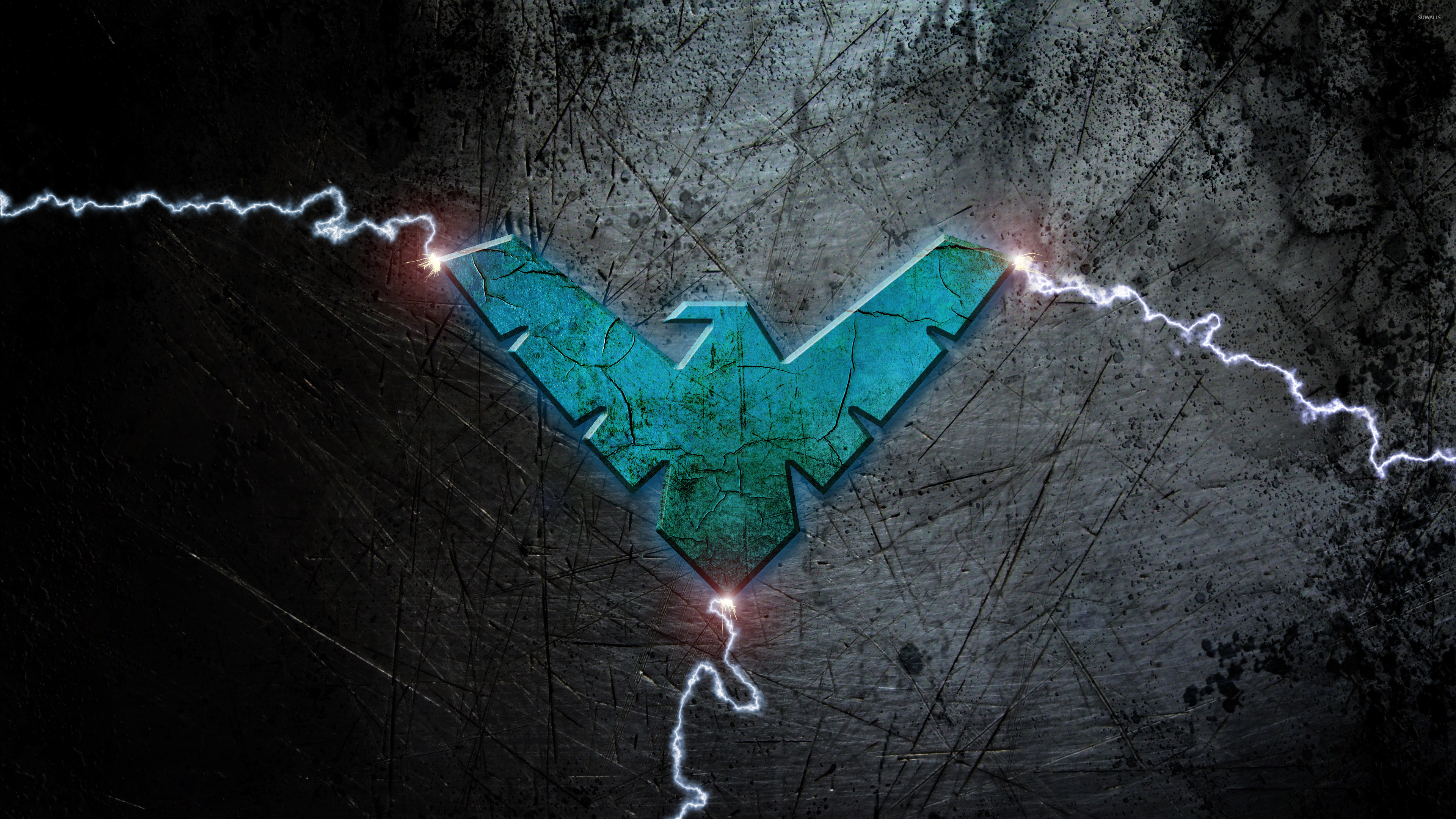 Blue Nightwing logo with lightning wallpaper - Comic ...