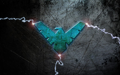 Blue Nightwing logo with lightning wallpaper