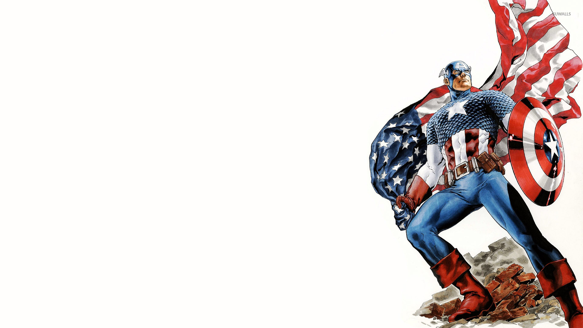 Captain America Holding The American Flag Wallpaper Comic