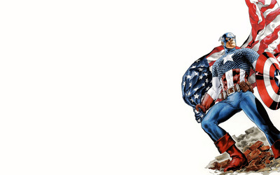 Captain America holding the American flag wallpaper