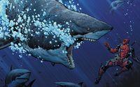 Deadpool and great white sharks wallpaper 1920x1080 jpg