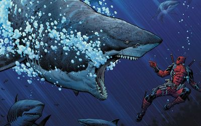 Deadpool and great white sharks wallpaper
