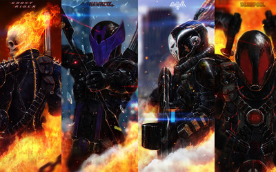 Ghost Rider, Hawkeye, The Punisher and Deadpool wallpaper