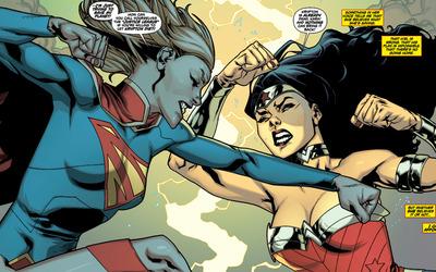 Supergirl vs Wonder Woman wallpaper