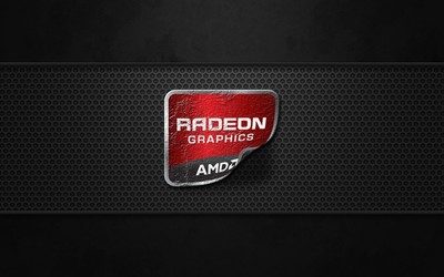 AMD Radeon Graphics logo peeling off wallpaper