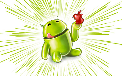 Android eating an Apple wallpaper