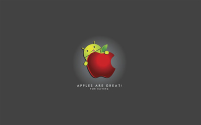 Android enjoying an apple wallpaper