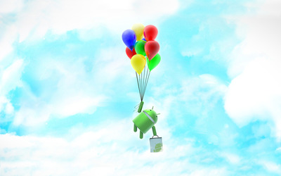 Android flying away wallpaper