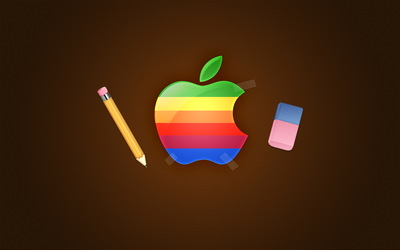 Apple and pencil wallpaper