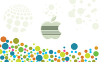 Apple logo among multicolored circles wallpaper 2880x1800 jpg