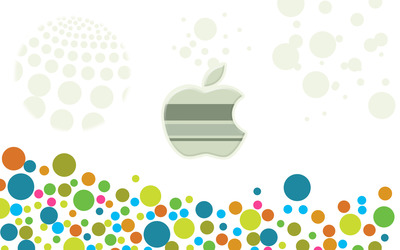 Apple logo among multicolored circles wallpaper