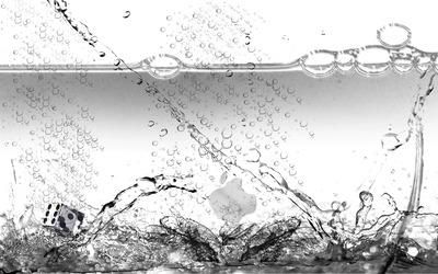 Apple logo among splashing water wallpaper