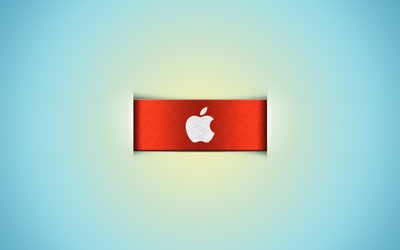 Apple logo on the orange ribbon wallpaper