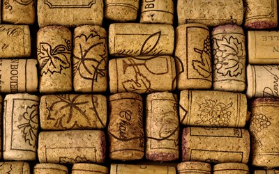 Apple logo on wine corks wallpaper