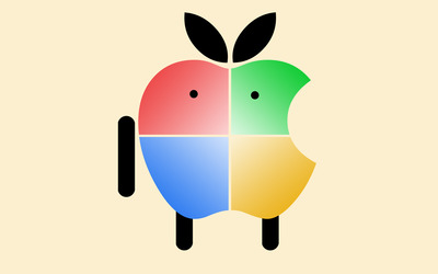 Apple logo with Windows colors wallpaper