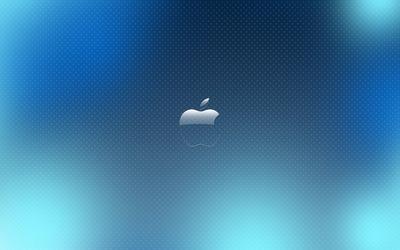 Apple on blue pattern wallpaper
